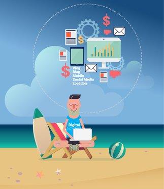e-commerce digital nomads concept in flat design vector illustration