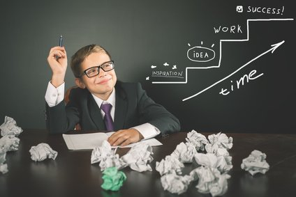 For your startup, Inspire, idea, work - It is a fundamental concept of a successful business. Inspired smart boy has a great idea! Conceptual image of business plan for start-up business strategy