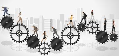 Business people over machine gear wheel. Cogwheel.