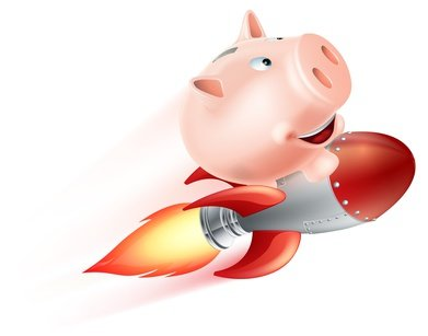 An illustration of a piggy bank riding on a rocket flying through the air