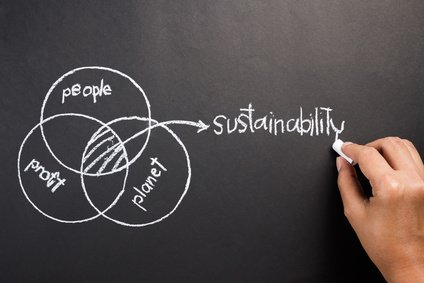 Hand drawing diagram of people, planet, profit to explain the intersection of Sustainable Development concept