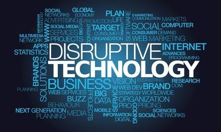 Disruptive technology innovation revolution word tag cloud