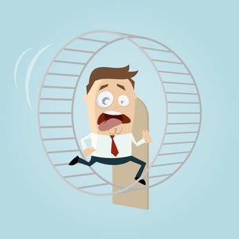 hamsterrad laufen stress business mann