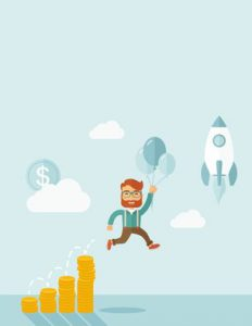 Businessman holding balloons fly high with coin graph that shows increase in sales. Start up business concept. A Contemporary style with pastel palette, soft blue tinted background with desaturated clouds. Vector flat design illustration. Vertical layout with text space on top part.