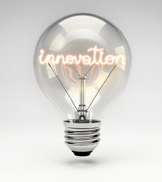 Light bulb with realistic fluorescent filament - innovation concept (Set)