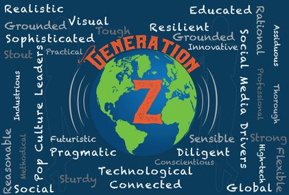 Generation Z word cloud with a globe
