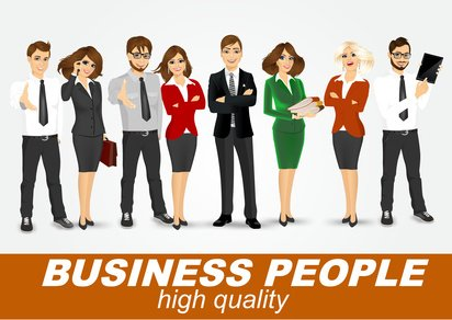 set of diverse business people isolated on white background